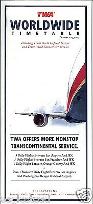 Airline Timetable - TWA - 29/10/00