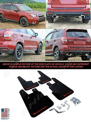 RALLY ARMOR UR BLACK MUD FLAPS FOR 2014+ SUBARU FORESTER w/ RED LOGO