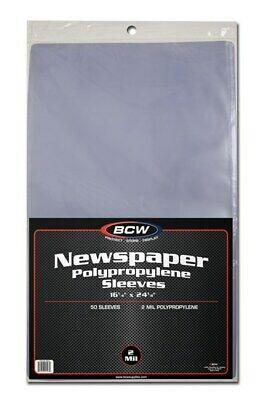 Case / 500 BCW 16 x 24 Newspaper Acid Free 2-Mil Clear Poly Sleeves 16x24 covers