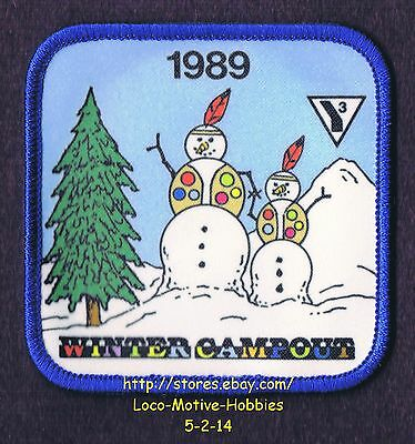 LMH PATCH Badge  1989 YMCA INDIAN WINTER CAMPOUT  Y-Indian SNOWMAN Insignia  Y3