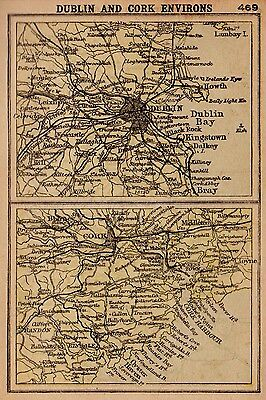 RARE Antique DUBLIN Ireland Map and CORK 1902 RARE MINIATURE Map