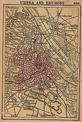 RARE Antique VIENNA AUSTRIA Map 1902 RARE MINIATURE Map of Vienna Austria