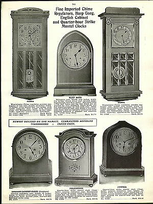 1915 ADVERT Westminster Chime Regulator Wall Clock Harp Gong Swinging 400 Day