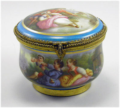Antique 19th Century Sevres Style Bone China Hand Painted Trinket Jewellery Box