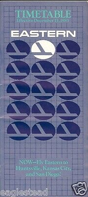 Airline Timetable - Eastern - 15/12/83
