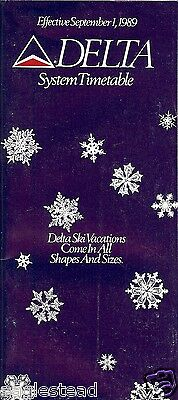 Airline Timetable - Delta - 01/09/89 - Ski Vacation Snowflake cover