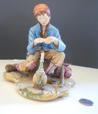 Vintage D. Bonalberti capodimonte beggar w/ candle awesome condition DETAILED!