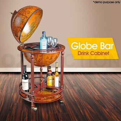 Antique Globe Bar Cabinet / Drink Trolley Storage Serving Cart Deluxe Furniture