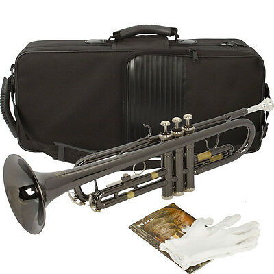 NEW BB BLACK Nickel Plating Trumpet with Silver Mouthpiece