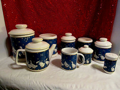 VTG Japan 14 pc's Goose, Geese, Duck Blue & White Canisters, Teapot, Cup, Salt