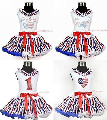 4TH JULY America Stripes Pettiskirt Skirt Tutu Top Clothing Set Girl Outfit 1-8Y