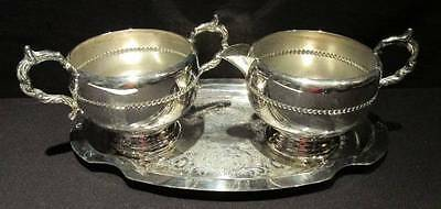 Viking Plate EP Copper Silverplate Vintage Sugar and Creamer & EP Brass Tray