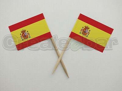 72 Spanish Flag Picks - Buffet Sandwich Food Party Sticks Toppers - SPAIN Flags