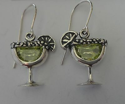 Sterling Silver Margarita with Lime Glass Green CZ Crystal Earrings on wires