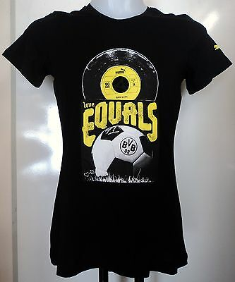 Borussia Dortmund Ladies Black Graphic Tee Shirt By Puma Size 14 Brand New