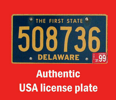 Delaware Real Authentic License Plate Auto Number Car Tag First Colony State De