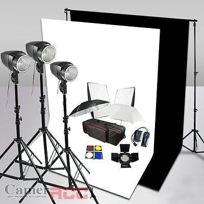 540W Photo Studio Flash Lighting Kit 2 Cotton Muslin Backdrops Stand Support Set