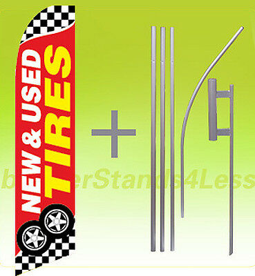 Feather Swooper Banner Sign 15' Flag Kit- NEW & USED TIRES checkered rb