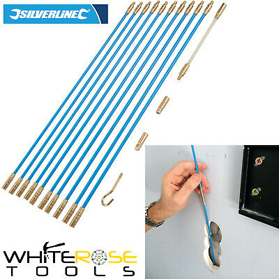 Silverline 633570 13pc Cable Access Tool Kit 10 x 330mm Rods Wires Electrician