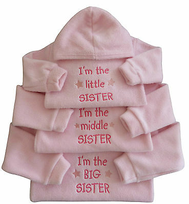 I'm The Little Middle Big Sister Girl Baby Pink Fleece Hoodie Top Funny Gift