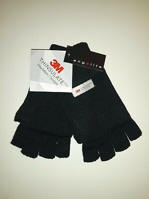 Mens Ladies Knitted Thinsulate cut finger gloves fingerless thermal fleece lined