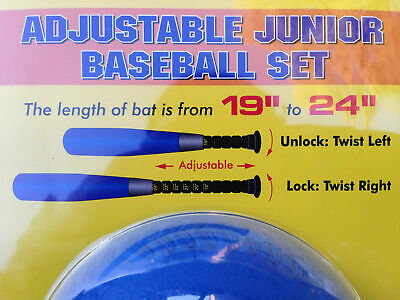 "Adjustable Sponge Covered Baseball Bat and Ball Set 19"" - 24"""