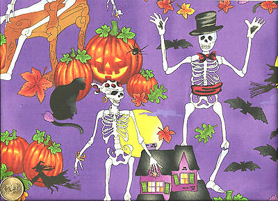 Halloween Skeletons Witch Haunted House Pumpkins on Shaded Purple Cotton Fabric*