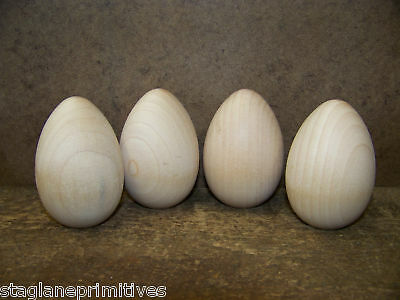 """Lot of 4 Unfinished Unpainted 2 1/2""""  Wood Wooden Hen Chicken Eggs Crafts"""