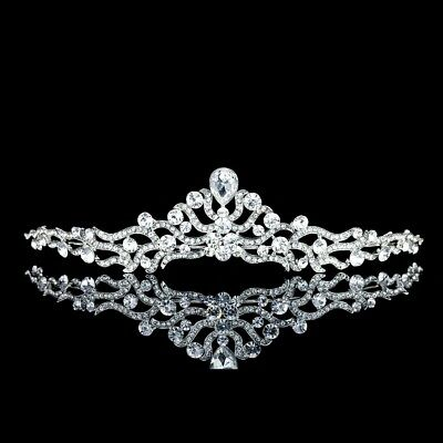 Elegant Bridal Floral Rhinestone Crystal Wedding Prom Crown Tiara 81032
