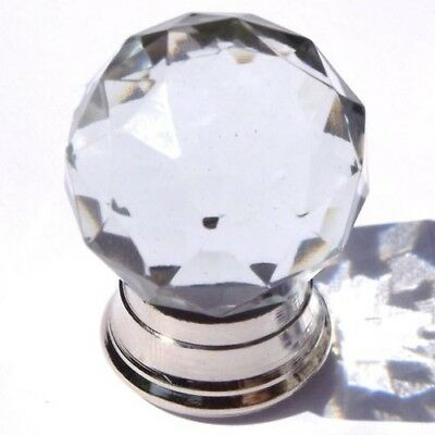 glass / Cut glass small round crystal clear pull knobs with chrome base