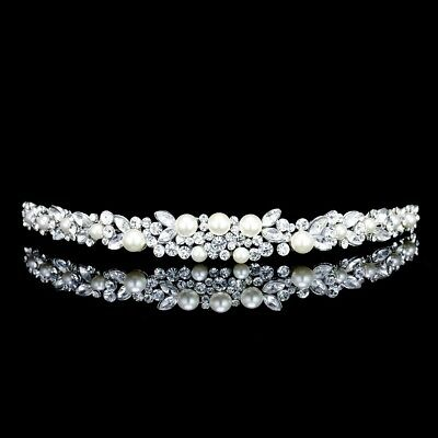 Bridal Flower Rhinestone Crystal Pearl Prom Wedding Tiara Headband 71040