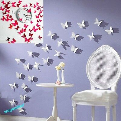 12 PCS 3D DIY Wall Sticker Stickers Butterfly Home Decor Room Decoration New