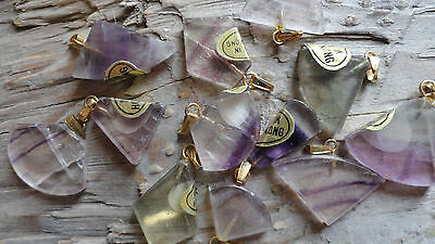 Fluorite Shape set (pkg 100) triangle stone pendant with GOLD loop size varies