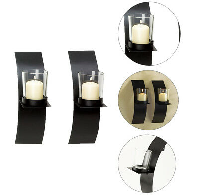 Modern Art Candle Holder Wall Black Sconce Plaque Set Of Two Home Decor