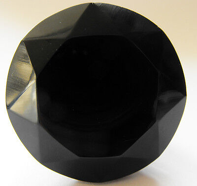 black medium crystal cut glass drawer & cupboard pulls door knobs 40 mm