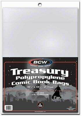 Pack of 100 BCW Archival 2-Mil Treasury Comic Book Poly Bags acid free sleeves