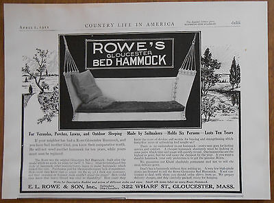 1911 vintage AD Rowe's Bed Hamock by E.L. Rowe & Son Gloucester Massachusetts