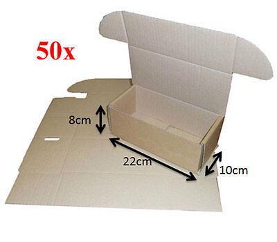 Pack of 50 Cardboard Mailing Boxes Pre Cut 8cm x 22cm x 10cm (Code: 1LTR)