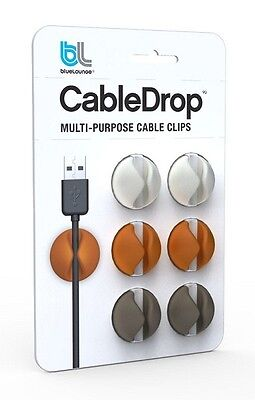 GENUINE Bluelounge brand CableDrop - Cable Clips, Muted colours, NEW! Aust Stock