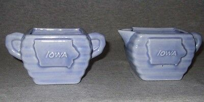 Vintage Milford Pottery~Iowa creamer & sugar~light blue~exc.cond.
