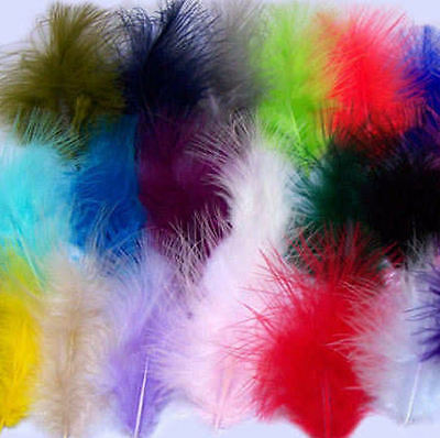 Feathers for Crafts, Sewing, Costumes etc - Colourful marabou feathers x 50