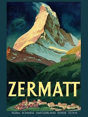 Zermatt Mountain Switzerland Suisse Travel Tourism Vintage Poster Repro FREE S/H