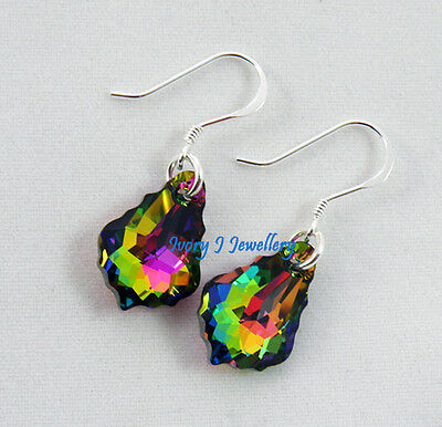 SWAROVSKI CRYSTAL Multi Colour Green Blue Pink Earrings 925 Sterling Silver