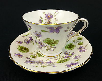 Tuscan Fine Bone China Cup And Saucer Purple Flowers England Scalloped Gold Trim