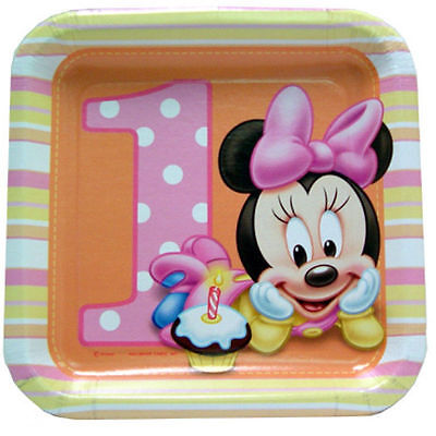 Baby Minnie Mouse 1st First Birthday Square Plates Dessert Lunch Party Supplies
