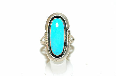 Ladies Navajo Sleeping Beauty Turquoise shadowbox ring sterling signed