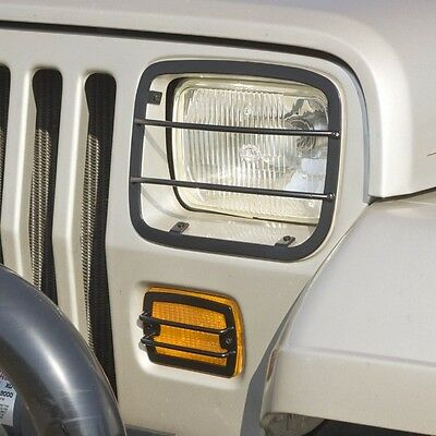 NEW Black Euro Headlight Turn Signal Guard SET / FOR 1987-1995 JEEP YJ WRANGLER