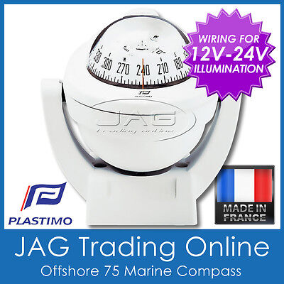 PLASTIMO OFFSHORE 75 WHITE BRACKET MOUNT MARINE/BOAT COMPASS 12V-24V Lighting
