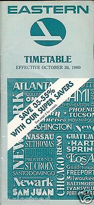 Airline Timetable - Eastern - 26/10/80