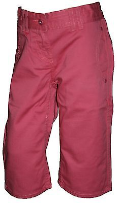 SECONDS Ex Store Pure Cotton 3/4 Cropped Trousers Pink Age 11